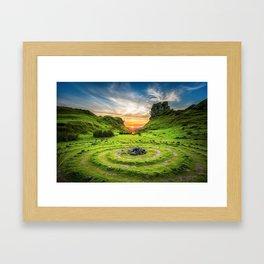 Green nature circle Framed Art Print