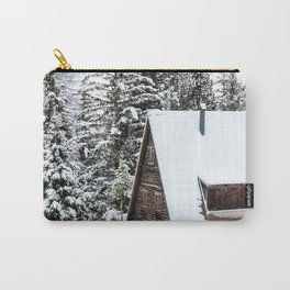 Log Cabin in the Snow, Winter Wall Art Carry-All Pouch