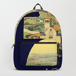 Vintage Litho Travel ad Assisi Italy Backpack