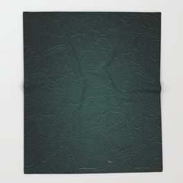 Forest Green Tooled Leather Throw Blanket