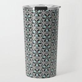 Blue Buds Silver Art Deco Design Pattern Travel Mug