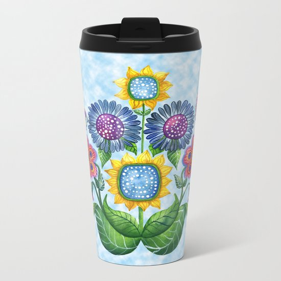 Butterfly Playground on a Summer Day Metal Travel Mug