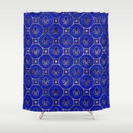 Fleur-de-lis pattern - Lapis Lazuli and Gold Shower Curtain