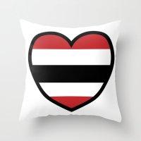 blackhawks Throw Pillows featuring Hawk Heart by Hawk Tawk TV