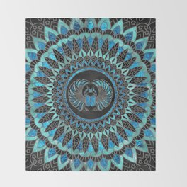 Egyptian Scarab Beetle - Gold and Blue glass Throw Blanket