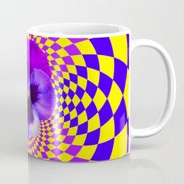 OPTICAL LILAC PURPLE PANSIES YELLOW  GEOMETRIC ART Coffee Mug
