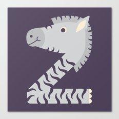 Letter Z // Animal Alphabet // Zebra Canvas Print