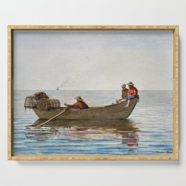 Winslow Homer1 - Three Boys In A Dory With Lobster Pots - Digital Remastered Edition Serving Tray