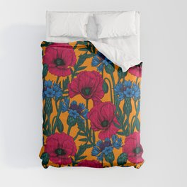 Red poppies and blue cornflowers Comforters