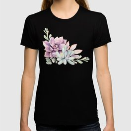 Desert Succulents on White T-shirt