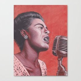 Ladies in Red: Billie Holiday Canvas Print