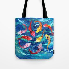 Koi fish rainbow abstract paintings Tote Bag