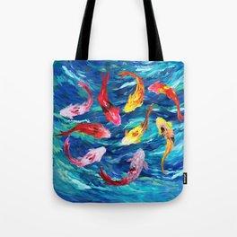Koi fish rainbow abstract paintings Tote Bag