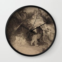 Saint Jerome Reading in an Italian Landscape Wall Clock