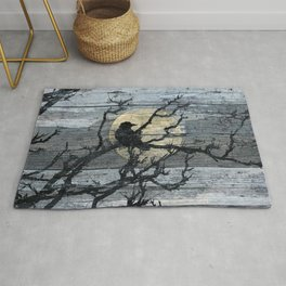 Rustic Crow Blue Grey Wood Type Cottage Chic Country Decor Barn Art A015 Rug