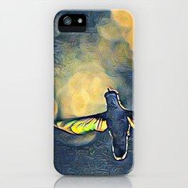 Golden Blue Hummingbird by CheyAnne Sexton iPhone Case
