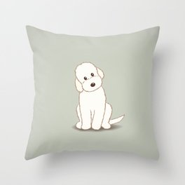 Cream Labradoodle Dog Illustration Throw Pillow