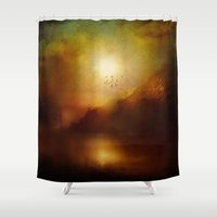 mucha Shower Curtains featuring Poesia II by Viviana Gonzalez