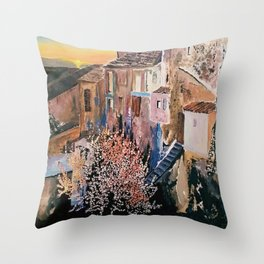 Memories of an ancient village  with  sweet  fragnance of Almond blossom Acrylic  Throw Pillow