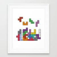 tetris Framed Art Prints featuring Tetris by Monchi