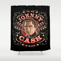 johnny cash Shower Curtains featuring Johnny Cash Pinstripe by Roberlan Borges