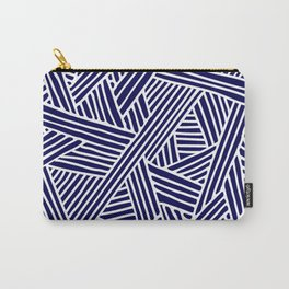Abstract navy blue & white Lines and Triangles Pattern- Mix and Match with Simplicity of Life Carry-All Pouch