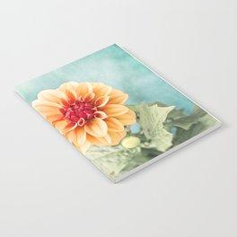 Aqua Orange Dahlia Flower Photography, Turquoise Teal Peach Nature Art Notebook
