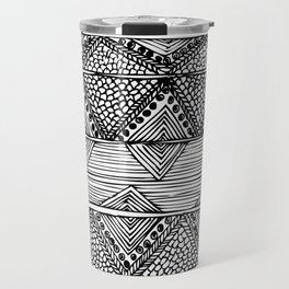 Abstract black and white digitised hand drawing art Travel Mug