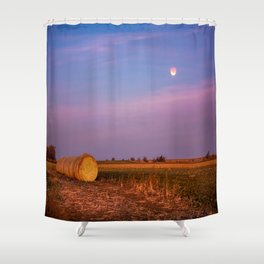 Hay Bales Under the Super Blue Blood Moon in Oklahoma Shower Curtain