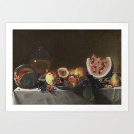 Pensionante del Saraceni Still Life with Fruit and Carafe Art Print