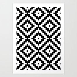 Aztec Block Symbol Ptn BW II Art Print