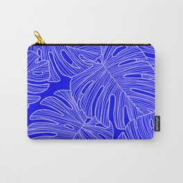 Cobalt Monstera Leaves Carry-All Pouch