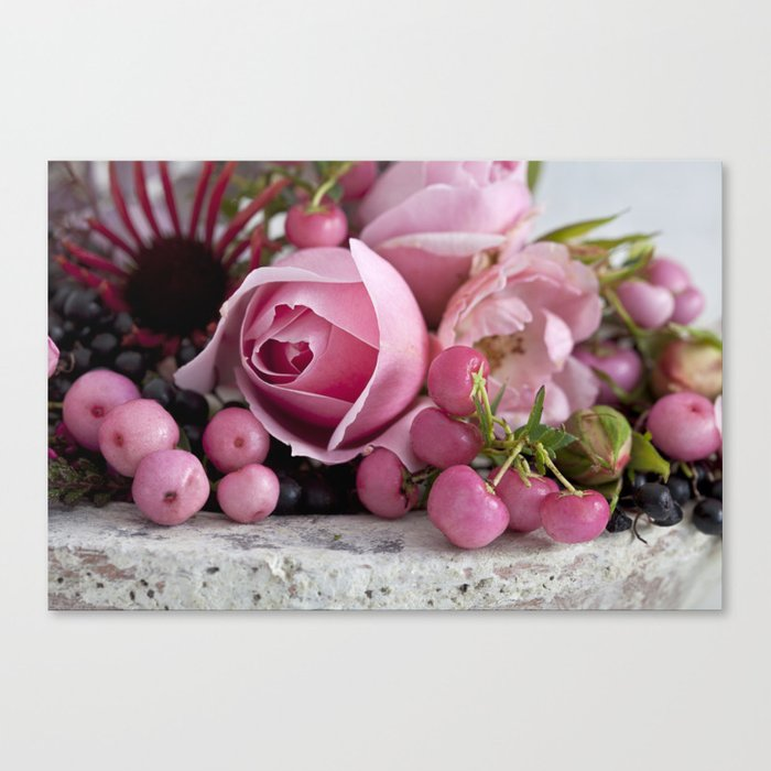 soft pink rose and berry still life Canvas Print
