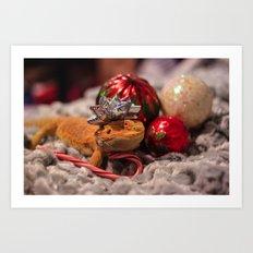 christmas lizard Art Print