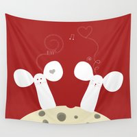 cheese Wall Tapestries featuring Cheese lovers by My Studio