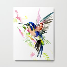 Hummingbird, bird, flying bird design decor blue peach colors Metal Print