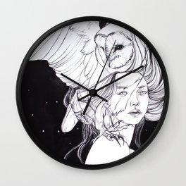 Woman with Owl Familiar Wall Clock