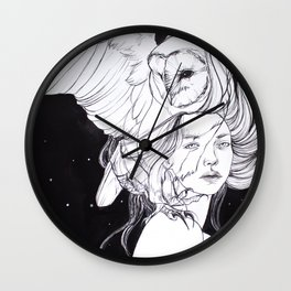 Woman with Owl Familiar Wall Clock