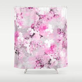 Purple grey floral watercolor romantic flowers pattern Shower Curtain