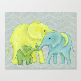 Elephant Family of Three in Yellow, Blue and Green Canvas Print