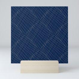 Japanese shibori dark blue indigo sapphire white Mini Art Print