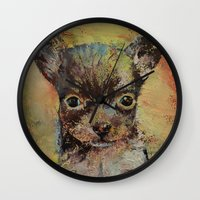 chihuahua Wall Clocks featuring Chihuahua by Michael Creese