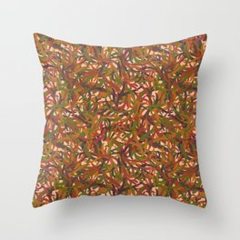 Woodland Forest Floor, Camouflage Plants in Woods Illustration Pattern in Forest Green & Brown Throw Pillow