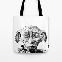 elf Tote Bags featuring Free Elf by DeMoose_Art
