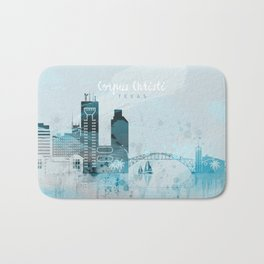 Corpus Christi Texas Monochrome Blue Skyline Bath Mat