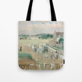 Hanging the Laundry out to Dry by Berthe Morisot Tote Bag