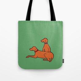 Vizslas on Green Tote Bag