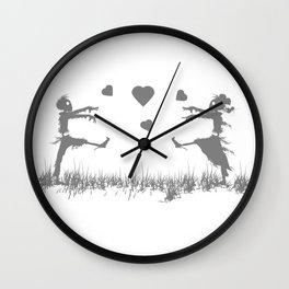 Zombies in Love Gray Wall Clock