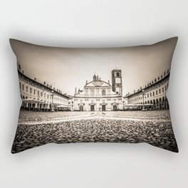 The stunning Piazza Ducale in Vigevano in autumn while raining Rectangular Pillow