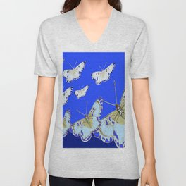 PATTERN OF BLUE & WHITE BUTTERFLIES MODERN ART Unisex V-Neck